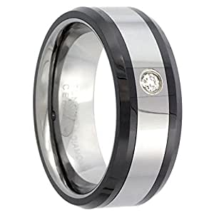 Revoni Tungsten Carbide Diamond 8 mm Wedding Band Ring 0.07 cttw Black Ceramic Inlay Beveled Edges, size P