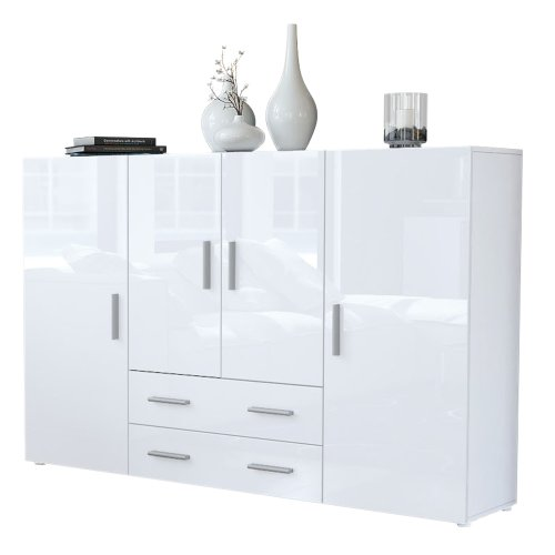 #Highboard Sideboard Nora, Korpus in Weiß matt / Front in Weiß Hochglanz#