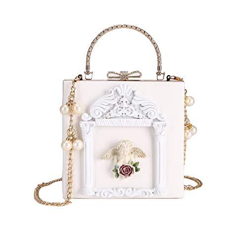 Engel Hobo Bag (Lxmhz Frauen Clutch Bag Metal geprägter Engel Evening Clutches Dress Evening Bag Metal Armband Handtaschen-Püree für die Küche, Hochzeit, Club,White)