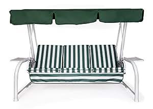 Neffy Shop Set di cuscini e tetto di ricambio per dondolo, 4 Posti, Bianco/Verde