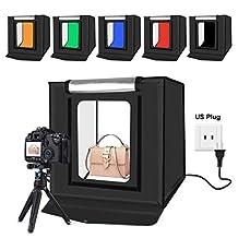 WJH 40cm Folding Portable 30W 5500K Wit Licht Photo Lighting Studio Schieten Tent Box Kit met 6 Kleuren Backdrops (zwart, oranje, wit, rood, groen, blauw), Maat: 40cm x 40cm x 40cm (Color : Color4)
