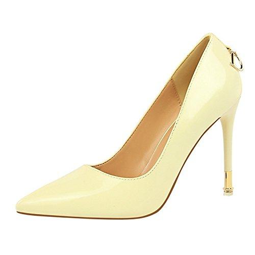DIMAOL Scarpe da Donna in Similpelle di Caduta di Primavera Comfort Tacchi Stiletto Heel Punta per Vestire Il Nudo Rosa Rosso Giallo Grigio Bianco