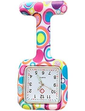 Boolavard® TM Nurses Fob Watch Krankenschwestern Silikon Tunika Brosche Taschenuhren - SQUARE Bunte Blasen