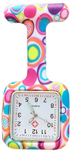 Boolavard-TM-Nurses-Fashion-Coloured-Patterned-Silicon-Rubber-Fob-Watches-SQUARE-Colourful-Bubbles