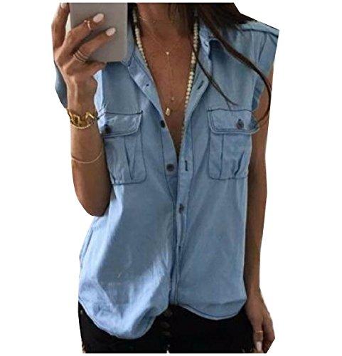 CuteRose Womens Pocket Front Denim Sleeveless Button Lapel Shirt Tops 2XL Light Blue (Snap Denim-pearl)