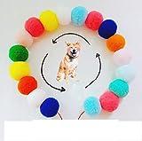 Zll Hauskragen-Haustier Halskette Hund Katze Kragen Mehrfarbig Pom-pom Kragen weich verstellbar für Katzen und Hunde,A,M