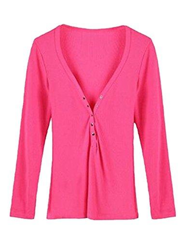 AILIENT Camicetta Donna Camicia Elegante Manica Lunga V Scollo Bottone Puro Colore Taglie Forti Maglietta Moda T-Shirt Cerimonia Top Red