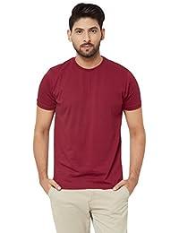 Magic Maroon - Cotton Half Sleeve Round Neck Plain T Shirt For Men,M