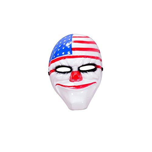 Glänzend Halloween Maske Kunststoff Neuheit Abend Ball Party Clown Face Mardi grascostume Cosplay Kunststoff Maske für Herren
