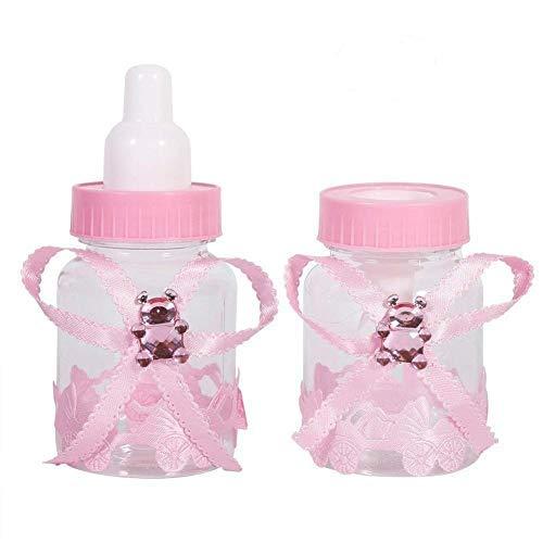 50pz biberon portaconfetti vasetto caramelle forma di bambino bottiglia per mettere caramelle favori di nozze e baby shower battesimo regali decorazione (colore : celeste) (colore : rosa)