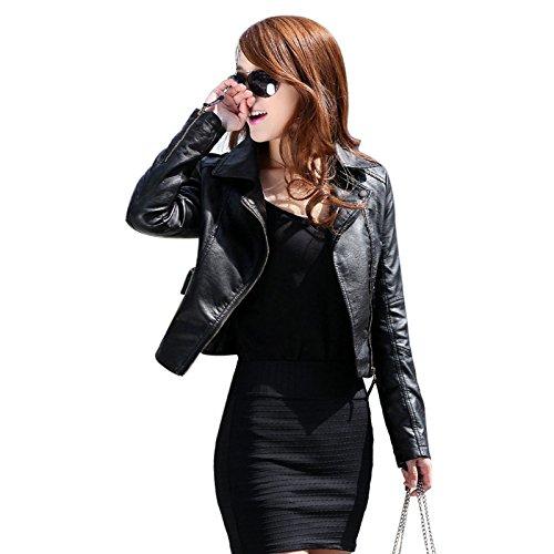 VLUNT Mesdames Faux dames Veste motard en cuir Veste Noire Zipper Faux cuir Jacket Black