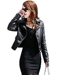 VLUNT Mesdames Faux dames Veste motard en cuir Veste Noire Zipper Faux cuir Jacket
