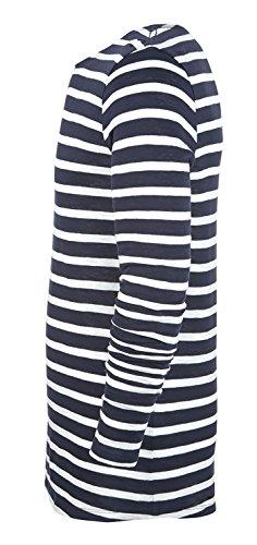 YTWOO Herren Longsleeve Aus Bio-Baumwolle mit Querstreifen in Kontrastfarben Blau-Weiß, Weiß-Heather Grey- Herren Langarm Bio Shirt mit Rundhalsausschnitt, Organic Cotton Weiß/Navy