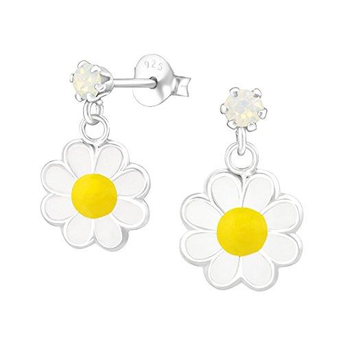 Laimons Mädchen Kids Kinder-Ohrstecker Ohrringe Ohrhänger Kinderschmuck Gänseblume Blume 12mm Weiß, Gelb Glitzer Sterling Silber 925 (Gans Mädchen)