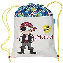 Bolsa mochila pirata confeccionada en loneta y personalizada con el nombre bordado (30 x 37 cm. aproximadamente)