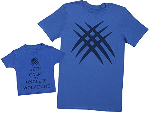 Keep Calm My Uncle is Wolverine - Ensemble Père Bébé Cadeau - Hommes T-Shirt & T-Shirt bébé - Bleu - Medium & 1-2 Ans