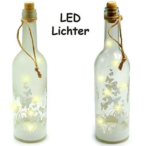 alles-meine GmbH 1 Stück _ Licht Dekoflasche - 10 Stück LED -  Schmetterlinge & Blumen  - FLA..