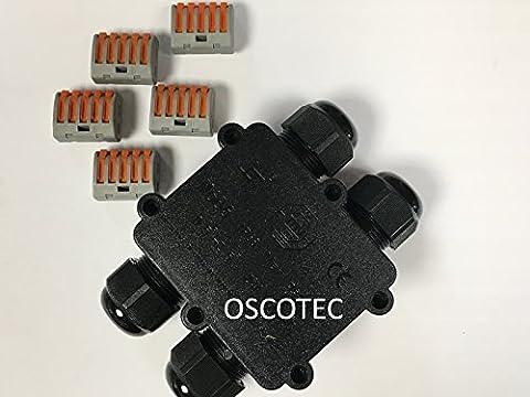 Nouveauté: Boîte de connexion Jumbo 4voies avec 4x M20Câble introduction (Extra Grand), avec bornes connexion, IP68, manchon de câbles étanche, connexion Box 220V–240V erdkabel avec 3, 4ou 5fils (0,75–Section 4mm2) pour une utilisation professionnelle