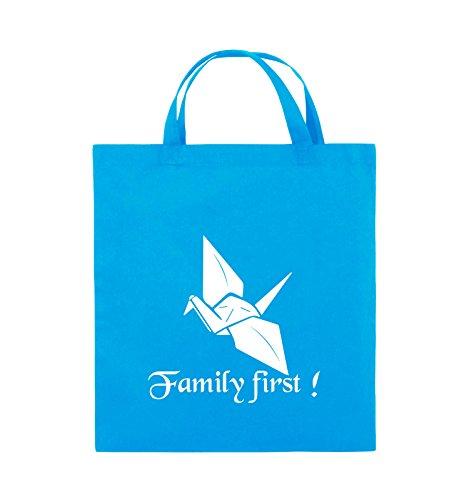Comedy Bags - Family First Origani - PRISONBREAK - Jutebeutel - kurze Henkel - 38x42cm - Farbe: Schwarz / Silber Hellblau / Weiss