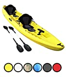 Bluefin Tandem 2+1 Sit On Top Fishing Kayak| With Rod Holders, Storage Hatches, Padded Seat & Paddle ... (Yellow)