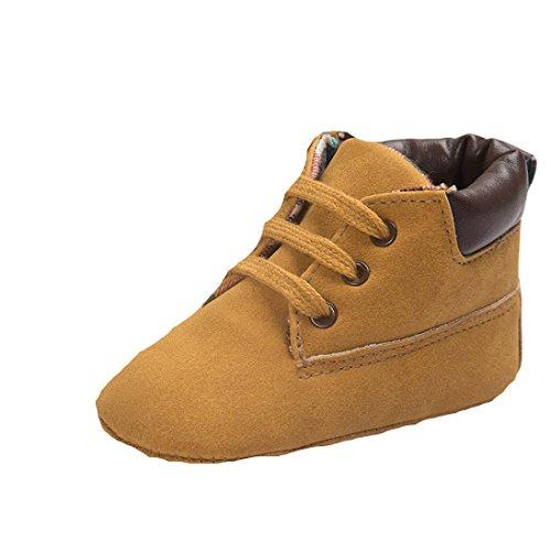Saingace® Toddler semelle souple chaussures en cuir bébé garçon chaussures fille tout-petits,0-18mois (12(12cm/6-12mois), Marron) Kaki
