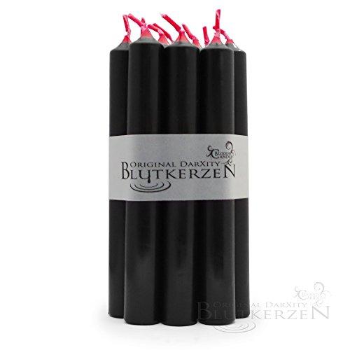 Xity - innen rot, außen schwarz - Stabkerzen reversible/ Umkehrung (L: 18cm, Ø: 22mm) (Freunde Halloween-szenen)