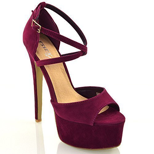 Essex glam sandalo donna peep toe con lacci plateau tacco a spillo alto (uk 3 / eu 36 / us 5, prugna finto scamosciato)