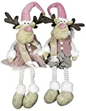 Christmas Paradise Winterlicher Deko Elch Kantenhocker Doppelpack Rentier Pärchen Weihnachtsdeko Größe 24cm Rosa-Grau