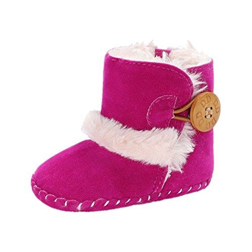 Baby Erste Wanderschuhe Auxma Baby Jungen Mädchen Mode niedlich warme Schuhe Infant Winter Schneeschuhe Stiefel für 0-18 Monate (13cm/12-18 Monate, Rosenrot)