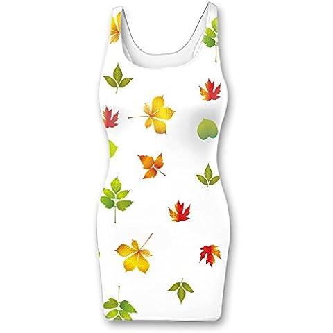Multi color geometric elements vest dress womens bodycon tank dress - Autumn Falling Leaves