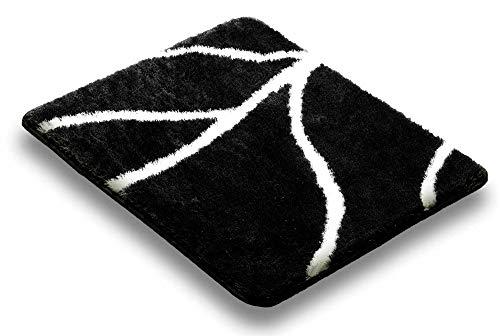 Ilkadim Vonella Badteppich Pine schwarz Weiß, Badematte rutschhemmend (50 x 60 cm Hänge-WC) - Pine Wc