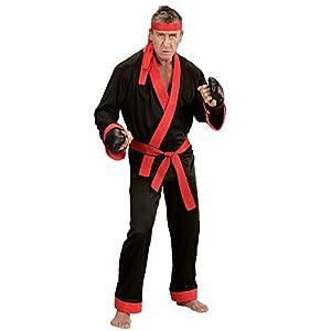 WIDMANN 73993?Adultos Disfraz Kick Boxer, Superior, pantalones, cinturón, cinta de cabeza y guantes de boxeo