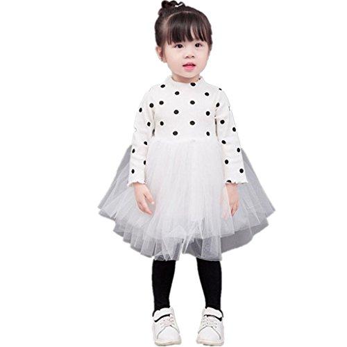 Amlaiworld baby Mädchen weich Punkte Stricken langarmshirt Flickwerk tutu Niedlich Prinzessin kleider,0-36Monate (24 Monate, Weiß) (Stricken Weichen, Weißen Bluse)