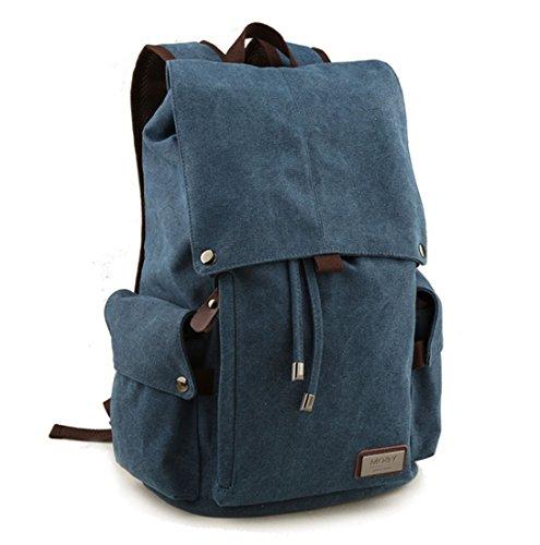 Retro-Segeltuch Rucksack Vintage-Rucksack Schultasche Reiserucksack Laptoprucksack Camping-Rucksack Unisex-Rucksack Lässige Daypacks mit Gepolsterte Tasche für Laptop (Blau) -