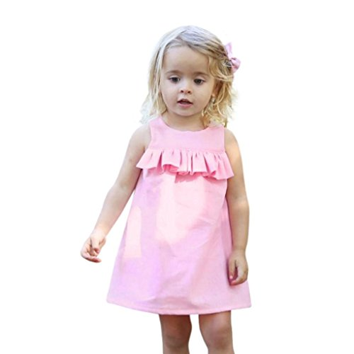 JERFER Solide Rüschen Ärmellos Kleinkind Baby Kinder Mädchen Kleid Outfits Kleidung Kleid