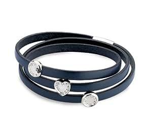Armband aus Leder in dunkel blau. Herzen mit Kristallen besetzt. Mit Magnet-Verschluss. BK525