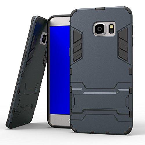 EKINHUI Case Cover s6 edge - plus, 2 in 1 neue rüstung harter stil hybrid dual layer 'verteidiger pc - hard - fall stehen [stoßfeste fall] für samsung galaxy s6 rand plus ( Color : Silver , Size : Sam Blue Black