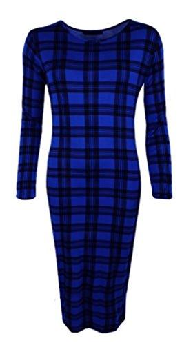 Boutique Damen Schlauch Kleid Blue Tartan
