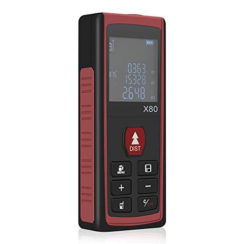 createjia Digitaler Laser-Entfernungsmesser, tragbarer Griff, digitales Messgerät, große Speicherkapazität und Winkelanzeige 80m