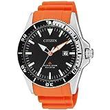Citizen BN0100-18E - Reloj analógico de cuarzo para hombre, correa de poliuretano color naranja