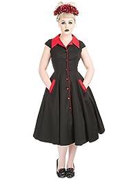 H&R London Années 50 style PRAIRIE robe chemise noir