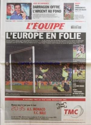 EQUIPE (L') [No 18869] du 23/02/2006 - JEUX OLYMPIQUES - DARRAGON OFFRE L'ARGENT AU FOND - RUGBY -TROIS CHANGEMENTS CHEZ LES BLEUS - L'EUROPE EN FOLIE - LYON A ENCORE GRANDI - HENRY - MAINTENANT ON NOUS ATTEND