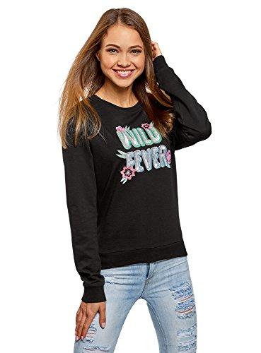 oodji Ultra Mujer Suéter de Algodón con Bordado, Negro, ES 46 / XXL
