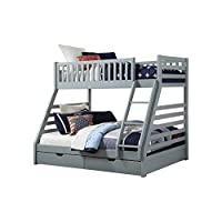 Sweet Dreams States Wooden Triple Sleeper Bunk Bed Frame Grey Wood with Drawers