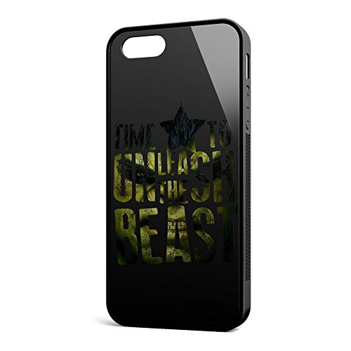 Smartcover Case Time To Unleash the Beast z.B. für Iphone 5 / 5S, Iphone 6 / 6S, Samsung S6 und S6 EDGE mit griffigem Gummirand und coolem Print, Smartphone Hülle:Samsung S6 EDGE weiss Iphone 5 / 5S schwarz