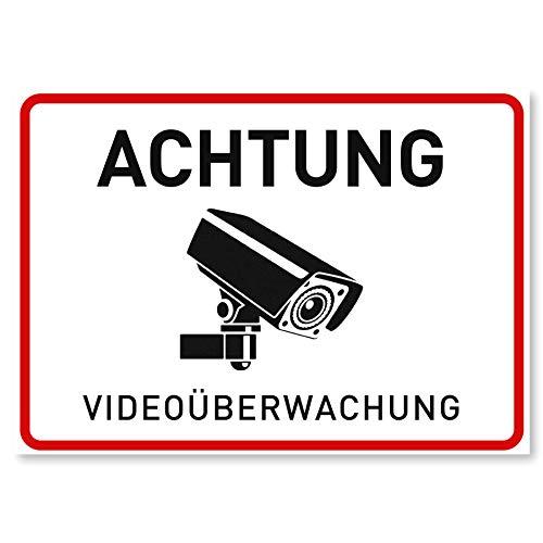 3 x Aufkleber Videoüberwachung - A6 (14,8 x 10,5 cm) - Rückseite Geschlitzt - Der Sticker für mehr Sicherheit - Achtung Videoüberwachung für Fenster und Türen - Warnhinweis für außen