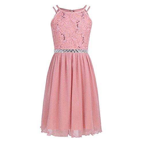 iEFiEL Mädchen Kinder Spitze Tüll Hochzeit Kleid Prinzessin Kleider Prinzessin Kleid Festzug Kleid Blumenmaedchenkleid Koralle Rosa 116