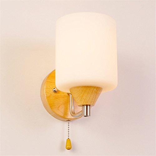 E27 moderno de madera pastoral creativa pantalla de vidrio LED lámpara de pared dormitorio pasillo de la cama pasillo sala de estar Hotel resturant luz de la pared interior casa de oficina centro comercial,A
