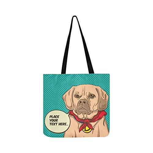 Hund Superheld Pop Art Porträt Leinwand Tote Handtasche Schultertasche Crossbody Taschen Geldbörsen Für Männer Und Frauen ()