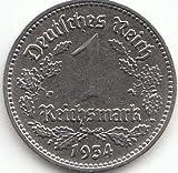 Deutsches Reich Jägernr: 354 1934 A sehr schön Nickel 1934 1 Reichsmark Reichsadler (Münzen für Sammler)